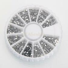 1800pcs Silver Wheel Nail Art Tips Crystal Glitter Rhinestone Decoration DIY New