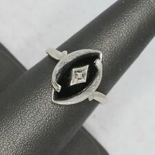 SIGNED WS ART DECO SOLID 10K WHITE GOLD BLACK ONYX RING, 3.7 gms, size 6.25, VG