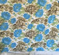 """Fabric Asian Architecture Buildings Watercolor Floral 2.5 Yards 45"""" Wide Vintage"""