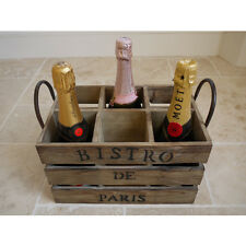 FRENCH RUSTIC bottiglia di vino in legno gabbia Holder STORAGE RACK DISPLAY VINTAGE