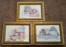 Lot of 3 Peggy Abrams Gold Framed Hat Box Picture Prints Series