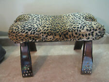 Wonderful ANTIQUE? CAMEL SADDLE OTTOMAN Vtg Foot Stool EGYPTIAN Wood w/Rivets