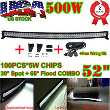 52INCH 500W LED FLOOD SPOT COMBO CURVED LIGHT BAR OFFROAD 4WD Truck+ Wiring Kit