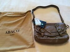 NWT $469 ABACO Paris Lambskin Leather Shoulder Bag Med Brown