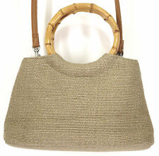 Fossil 1954 Beige Bamboo Handles Straw Hemp Snap Shoulder Tote Handbag Purse Bag