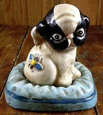 Hubley Style Cast Iron Coin Bank Puppo the Puppy Dog on Pillow with Bee on Back