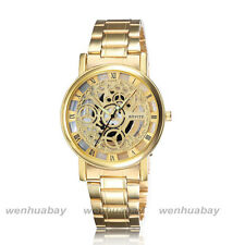 Luxury Stainless Steel Hollow Skeleton Dial Mens Business Quartz Wrist Watch NEW
