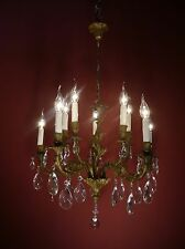 FINE 10 LIGHT BRASS BRONZE FRENCH CHANDELIER CRYSTAL GLASS VINTAGE OLD ANCIENT