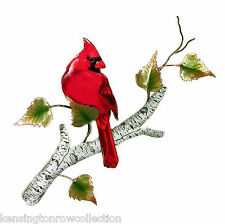 WALL ART - CARDINAL ON BIRCH BRANCH METAL WALL SCULPTURE - WALL DECOR
