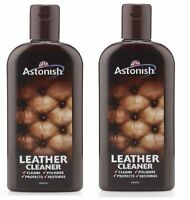 2 X 235ml ASTONISH LEATHER SUITE CLEANER SOFA RESTORER CONDITIONER CREAM POLISH