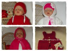 Honeydropdesigns  * 4 PAPER KNITTING PATTERNS * For Baby Born/17 Inch Dolls