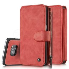 Samsung Galaxy S7+S6 EDGE 14 Card Slots Leather Wallet Folio Zip Case Cover New