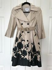 New€595Euro~LANGBOW PARIS Flare DRESS COAT~Double-Breasted/Bell Sleeve/Belt/Silk