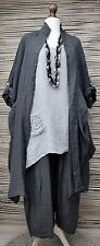 "Lagenlook oversize 3 PC jacket+top+trousers * antracite / grigio * Busto Fino A 54 ""XL-XXL"