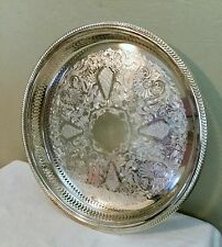 "Vintage FB Roger Silver 13 1/2"" round etched serving gallery tray"