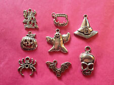 Tibetan silver mixed halloween/spooky charms 8 per pack