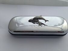 A38 Double Dolphin  Motif On a Chrome Glasses Case