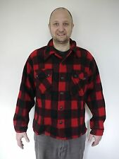 Vintage Mid Century Buffalo Plaid Red Black 100% Wool Lumberjack Hunting Shirt M