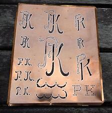 """Monogramm """" PK """" Wäschemonogramm Wäscheschablone Wäschezeichen 11/13 cm KUPFER"""