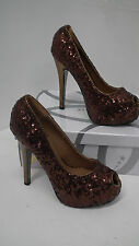 BNIB Brown Seqin Peep Te High Heels size 4 from Kayla Shoes