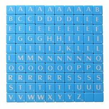 100 BLUE PLASTIC SCRABBLE TILES WHITE LETTERS NUMBERS FOR CRAFTS UK SELL
