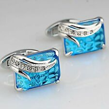Blue Crystal White Gold Filled Silver Mens Shirt Cuff Links For Wedding Party