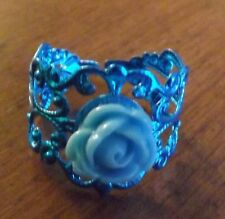 bague filigrane bleue réglable adulte rose bleue diamètre 9 mm