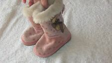 Next Size 3 PINK STAR BOOTS Fur Cuff Shoes Toddler Girls