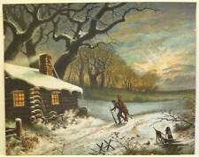 vintage old log cabin in winter, hunting carrying deer