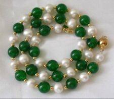 7-8MM White Akoya Pearl & Emerald Necklace 18''