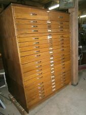 Vintage Mayline Oak Flat File Cabinet 20 Drawer Stackable Modern Drafting