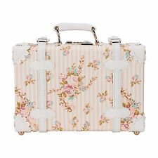 """CO-Z 12"""" Waterproof PU Leather Vintage Luggage Small Suitcase Floral Decorative"""