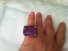 UNIQUE! Amethyst Sterling Silver RING sz 7.5 Square HUGE Cocktail Neiman Marcus