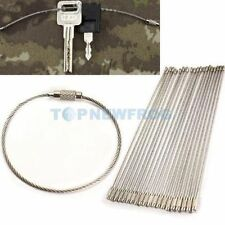 20pcs Screw Locking Stainless Steel Keychain Wire Key Ring Cable Outdoor Hiking