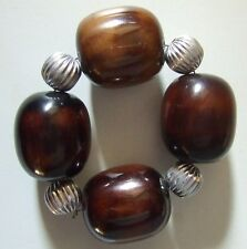 8 Pottery Barn Large Bead Napkin Ring Holders ~ New in Box ~ Silver Brown Amber