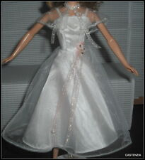 DRESS BARBIE DOLL GREASE SANDY VTG 50'S STYLE DANCE OFF WHITE SUMMERY DRESS CAPE
