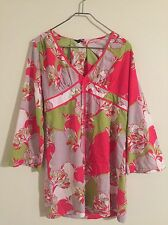 Ted Baker Women's Sz 4 Bright Floral Pink/Green Tunic Retro Dress Mod