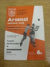 05/11/1963 Arsenal v Birmingham City  (Light Crease, Pencil Team Changes). Trust