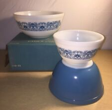 Vintage New In Open Box Set Of 3 Pyrex Horizon Blue Mixing Bowls NIOB