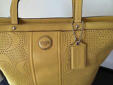 NWT COACH SIGNATURE STRIPE YELLOW PERFORATED LEATHER TOTE BAG GIFT RECEIPT 21941