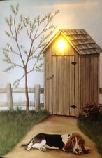Dog Outhouse lit canvas art picture FLICKERING LED light fiber optic branch Sign