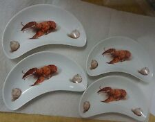 4 LOBSTER & CLAM BONE DISHES KUBA BAVARIA GERMANY