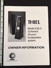 Thiel CS2.3 Speaker Owners Manual and Color Full Line Brochure