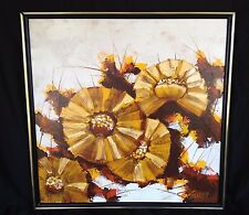 """vintage Painting Abstract Flower Floral Mod Garret 25"""" Canvas Yellow Textured"""