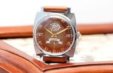 Vintage Red Brown Zim Pobeda Victory USSR Russian Soviet Mens Watch new strap