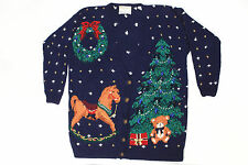 Super Ugly Christmas Sweater Party Winner Blue Cardigan Large Bows Bells