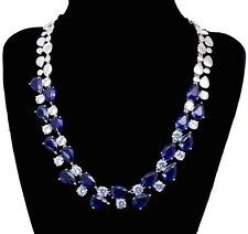 14k White Gold Necklace made w/Authentic Swarovski Crystal AB Clear & Blue Stone