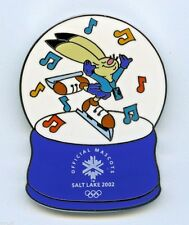 2002 Salt Lake Winter Olympic Mascot Figure Ice Skating PIN Powder in Snow Globe