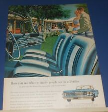 1960 PONTIAC Bonneville convertible w/bucket seats AF/VK art Advert