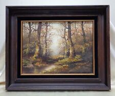 "SGD Vintage Silvana ""Birch Wood"" Landscape Oil Painting w. Antique Wooden Frame"